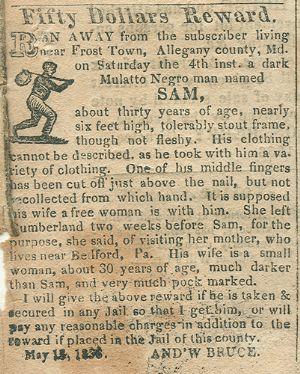 """""""Sam"""" - runaway slave"""