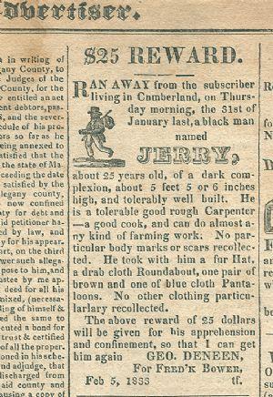 """Jerry"" - runaway slave"