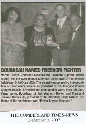Norma Bourdeau, NAACP award, 2007
