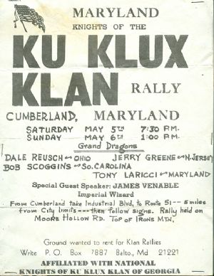 Maryland KKK rally, Cumberland 1973.