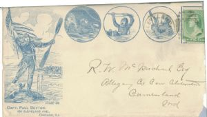 Envelope addressed to R.W. McMichael from Capt. Paul Boyton
