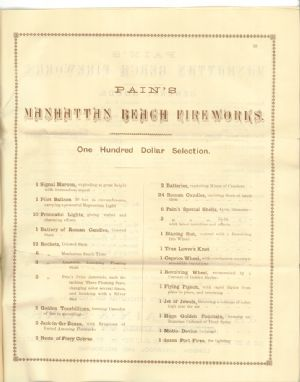 Catalog of pyrotechnic goods sold by James Pain & Sons.