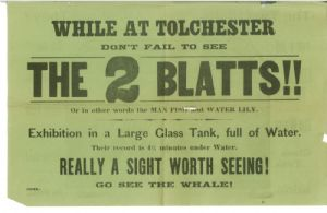 Advertisement for the Two Blatts performing underwater acts.