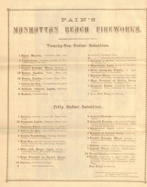 Catalogue of pyrotechnic goods sold by Pain's and Sons.