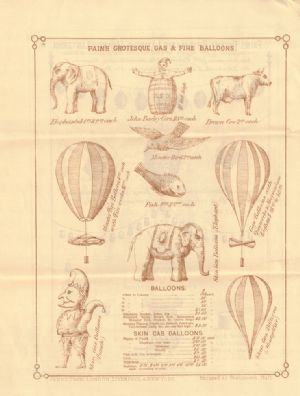 Advertisement in catalog for gas and fire balloons.