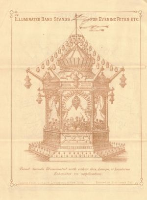 Advertisement in catalogue for Pain's Illuminated Bandstands.