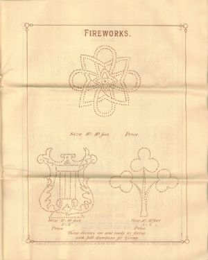 Advertisement in catalogue for fireworks of various types.