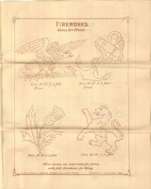 Advertisement for James Pain & Sons Catalogue with illustrations of set pieces of fireworks