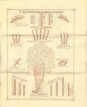 Advertisement for aquatic and other sundry fireworks in James Pain & Sons Catalogue