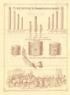 Advertisement for Roman lights and torches and other illuminations