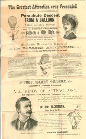 Promotional ad for balloon ascensions and descents performed by a Professor Harry Gilbert and Miss Loiuse Bates