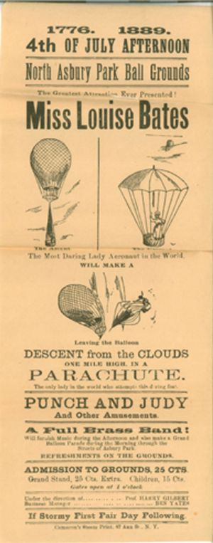 Advertisement for the balloon ascension and descent of aeronaut, Miss Louise Bates