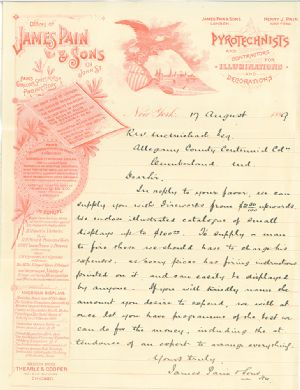 This letter is in regard to a request by R.W. McMichael for information concerning the prices of various fireworks offered by James Pain & Sons.