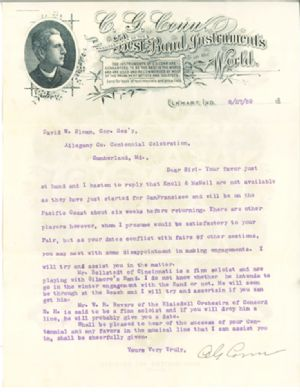 This letter is in regard to David W. Sloan's interest in securing an instrumental band in playing for the Centennial Celebration, which C.G. Conn promises to assist in doing.