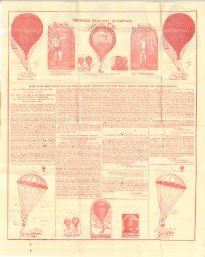 This advertisement features various articles and letters that attest to the Hunt's and Prof. King Burke's aeronautic feats, specifically in ballon ascensions.