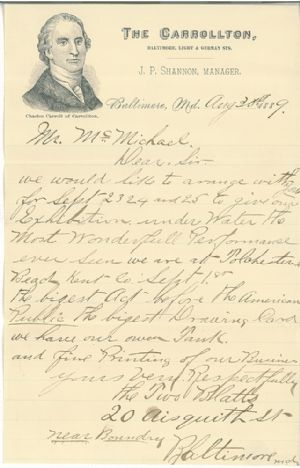 Letter written to inform Mr. McMichael of the desire of the Two Blatts to perform an underwater exhibition in a tank full of water.