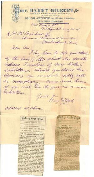 This letter from Harry Gilbert to R.W. McMichael concerns whether Mr. McMichael intends to secure the services of Miss Bates for an exhibtion and the necessary terms for the event.
