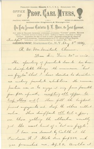 """In this letter, Prof. Carl Myers states he plans to discontinue the parachute exhibitions due to """"numerous hot air and fizzles""""."""