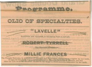 "Programme describing the acts of ""Lavelle"" and Millie Frances, who can lift heavy weights with her teeth."