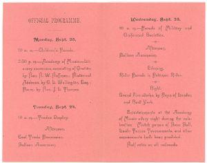 Allegany County, Maryland, Centennial Celebration, 1889: Programme