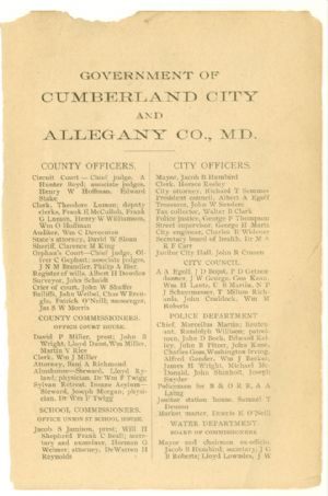 Allegany County Maryland, 1895, Cumberland, directory, county, city officers