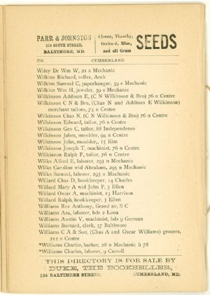 Allegany County Maryland, 1895, Cumberland, directory