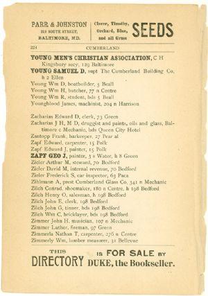 Allegany County Maryland, 1895, Cumberland,