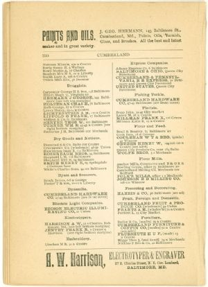 Allegany County Maryland, 1895, Cumberland, business directory