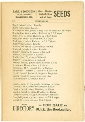 Allegany County Maryland, 1895, Barton, directory