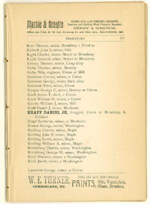 Allegany County Maryland, 1895, Frostburg, directory