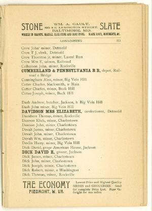 Allegany County Maryland, 1895, Lonaconing directory