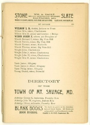 Allegany County Maryland, 1895, Lonaconing directory. Mount Savage