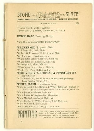 Allegany County Maryland, 1895, Westernport directory