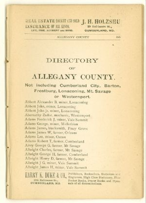 Allegany County Maryland, 1895, directory