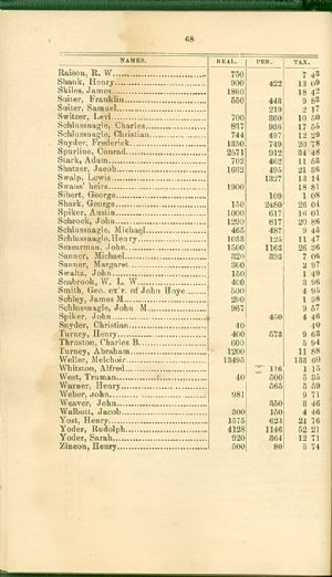 Allegany County tax records, 1872, Accident