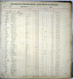 Pay Roll Ledger, June 1906 for Georges Creek Coal and Iron Company, Lonaconing, Maryland. Page 1.