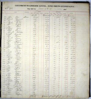 Pay Roll Ledger, June 1906 for George's Creek Coal and Iron Company, Lonaconing, Maryland. Page 3.