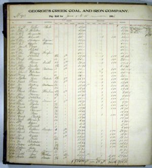 Pay Roll Ledger, June 1906 for George's Creek Coal and Iron Company, Lonaconing, Maryland.
