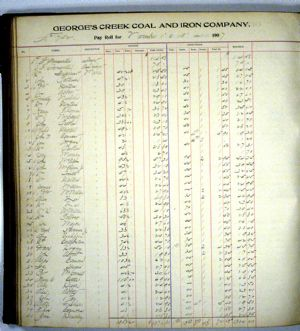 Pay Roll Ledger, November 1907 for George's Creek Coal and Iron Company, Lonaconing, Maryland.