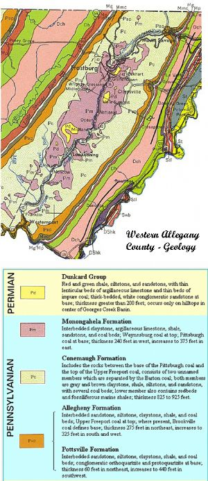 Geologic map of western Allegany County.