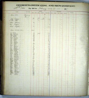 Pay Roll Ledger, February 1907 for George's Creek Coal and Iron Company, Lonaconing, Maryland.