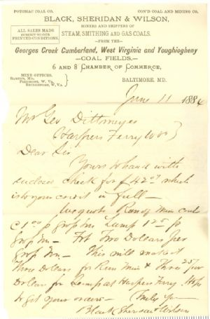 Letter about purchase of coal from Geroge's Creek and other mines.