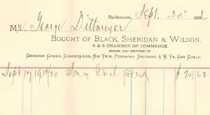 Receipt for coal purchased from George's Creek.