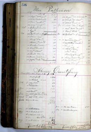 General store ledger - Mrs Patterson and Henry Creutzburg