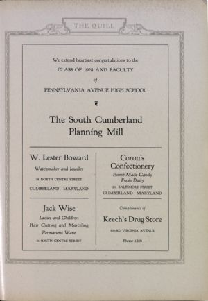 South Cumberland Planning Mill, W. Lester Boward, Jack Wise, Coron's Confectionary, Keech's Drug Store.