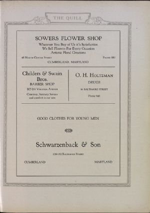 Sowers Flower Shop, Childers and Swain, O. H. Holtzman, Schwarzenback & Son