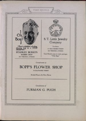 Stanley Burke's barber Shop, S.T. Little jewelry, Bopps Flower Shop, Furman Pugh