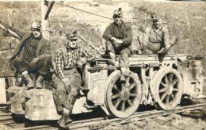 Men on coal car in Dodson, Garrett County.