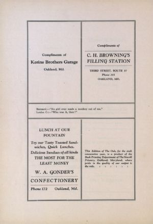 Kerins Brothers Garage, Gonder's Confectionery, C. H. Browning Filling Station, Sincell Printery