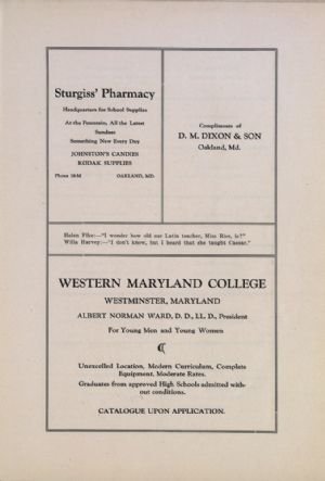 Sturgiss' Pharmacy, D.M. Dixon, Western Maryland College